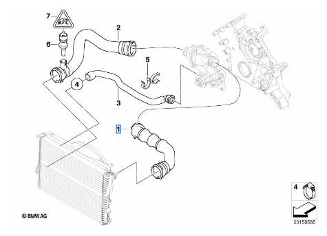 Radiator Coolant Hose - BMW (11-53-8-022-551)