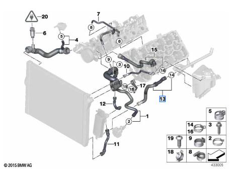 Radiator Coolant Hose - BMW (17-12-7-984-388)