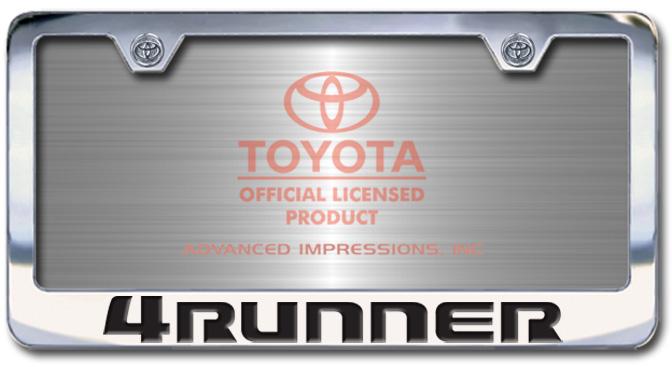 Chrome Engraved 4Runner License Plate Frame-Block Lettering - Custom (2004-BL4RUN)