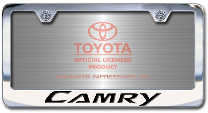 Chrome Engraved Camry License Plate Frame-Block Lettering - Custom (2004-BLCAMRY)