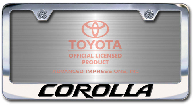 Chrome Engraved Corolla License Plate Frame-Block Lettering - Custom (2004-BLCOROLLA)