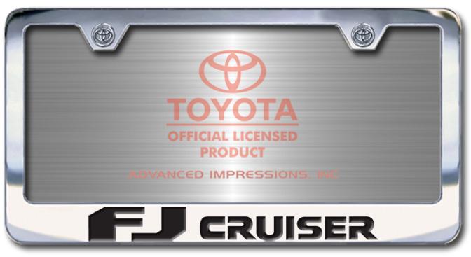Chrome Engraved FJ Cruiser License Plate Frame-Block Lettering - Custom (2004-BLFJ)