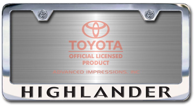 Chrome Engraved Highlander License Plate Frame-Block Lettering - Custom (2004-BLHIGH)