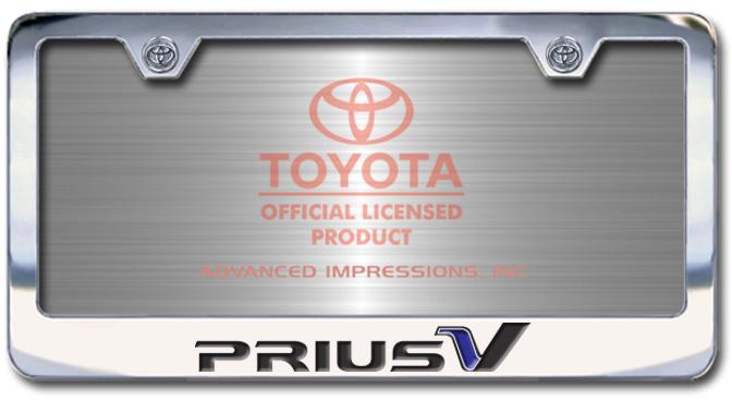 Chrome Engraved Prius V License Plate Frame-Block Lettering - Custom (2004-BLPRIUSV)