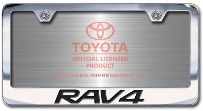 Chrome Engraved Rav4 License Plate Frame-Block Lettering - Custom (2004-BLRAV)