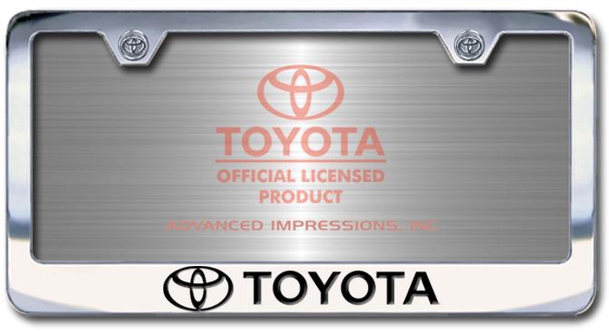Chrome Engraved Toyota with Logo License Plate Frame-Block Lettering - Custom (2004-BLTOY)