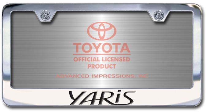 Chrome Engraved Yaris License Plate Frame-Block Lettering - Custom (2004-BLYAR)