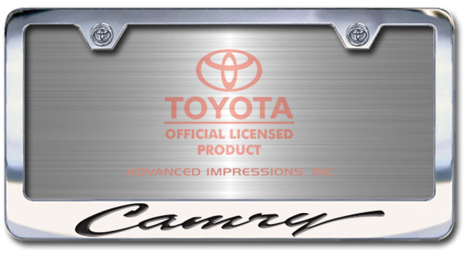 Chrome Engraved Camry License Plate Frame-Script Lettering - Custom (2004-SCAMRY)
