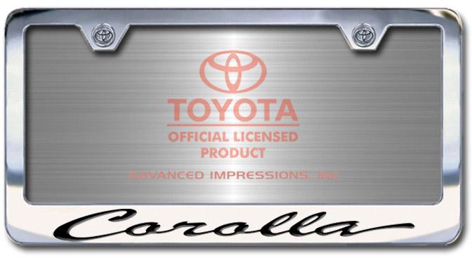 Chrome Engraved Corolla License Plate Frame-Script Lettering - Custom (2004-SCOROLLA)