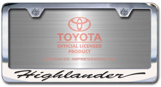 Chrome Engraved Highlander License Plate Frame-Script Lettering - Custom (2004-SHIGH)