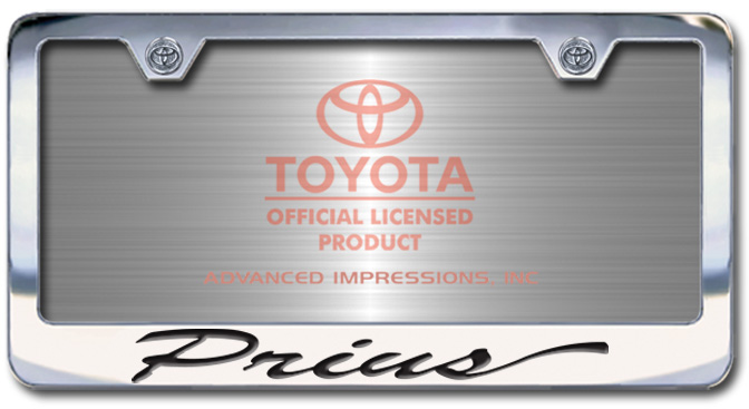 Chrome Engraved Prius License Plate Frame-Script Lettering - Custom (2004-SPRIU)