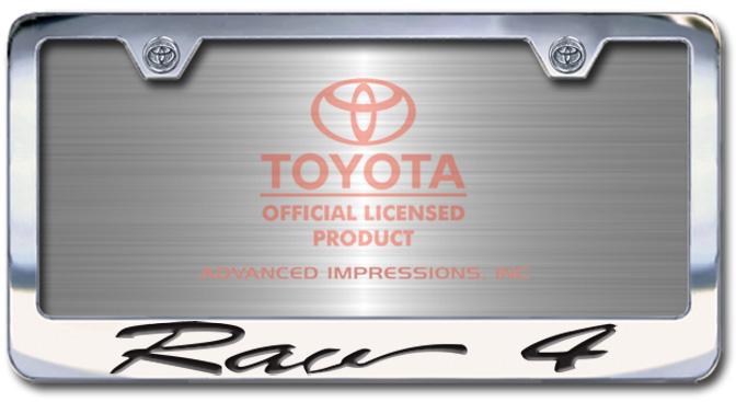 Chrome Engraved Rav4 License Plate Frame-Script Lettering - Custom (2004-SRAV)