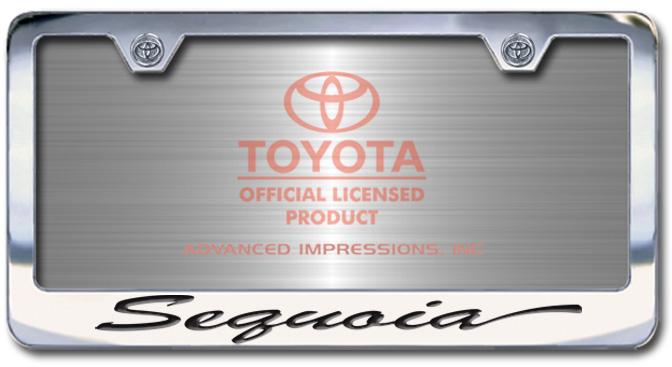Chrome Engraved Sequoia License Plate Frame-Script Lettering - Custom (2004-SSEQ)