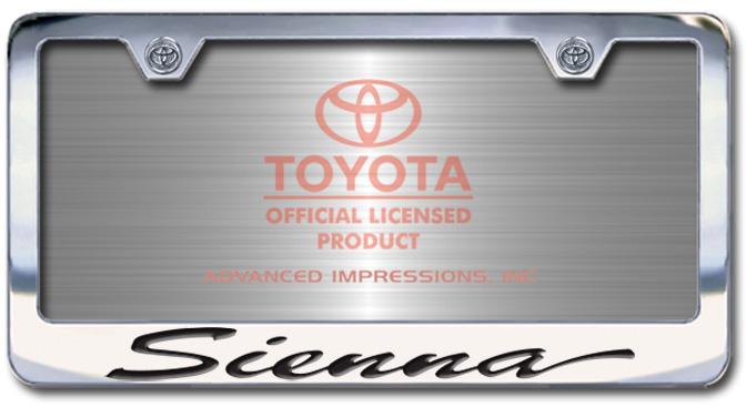 Chrome Engraved Sienna License Plate Frame-Script Lettering - Custom (2004-SSIEN)