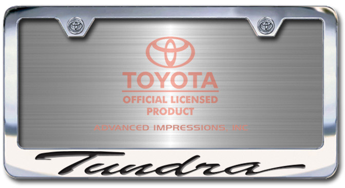 Chrome Engraved Tundra License Plate Frame-Script Lettering - Custom (2004-STUND)