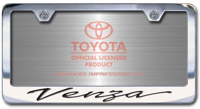 Chrome Engraved Venza License Plate Frame-Script Lettering - Custom (2004-SVENZ)