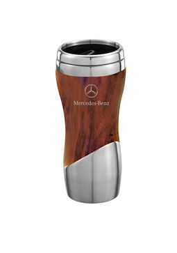DOUBLE WALL STAINLESS STEEL AND WOOD GRAIN TUMBLER - Mercedes-Benz (MHD-135-BR)
