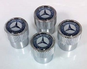 Valve Stem Caps, Blue Laurel Wreath - Mercedes-Benz (q6408131)