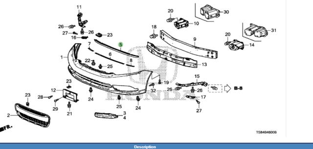 Spoiler, Front Lip - Honda (71110-TS9-A00)