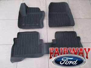 2013 thru 2017 Escape OEM Ford Tray Style Molded Black Rubber Floor Mat Set 4-pc