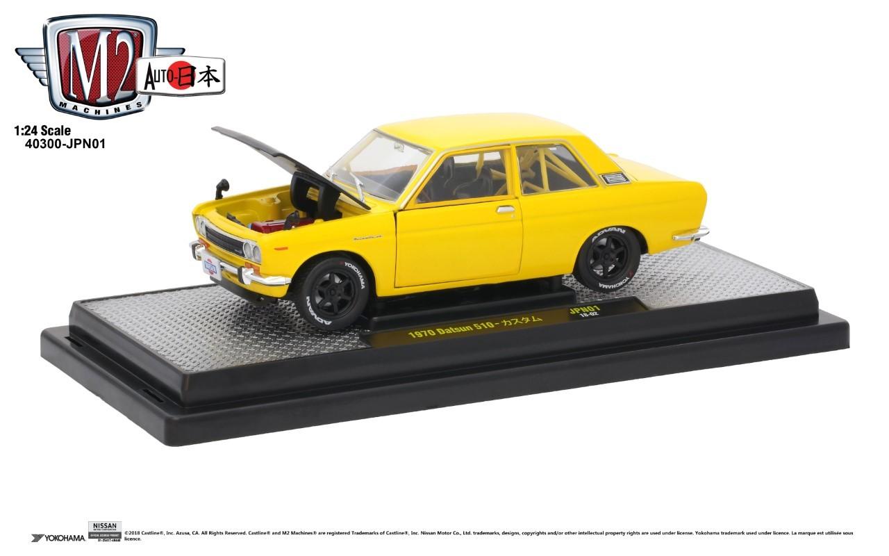 M2 MACHINES 1/24 1970 DATSUN 510 - YELLOW - Nissan (NIS23001400)