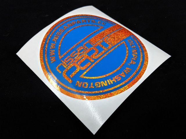 """NISSANPARTS.CC 4"""" ROUND BLUE ORANGE SPARKLE DECAL - Custom (BLUEORANGESPK)"""