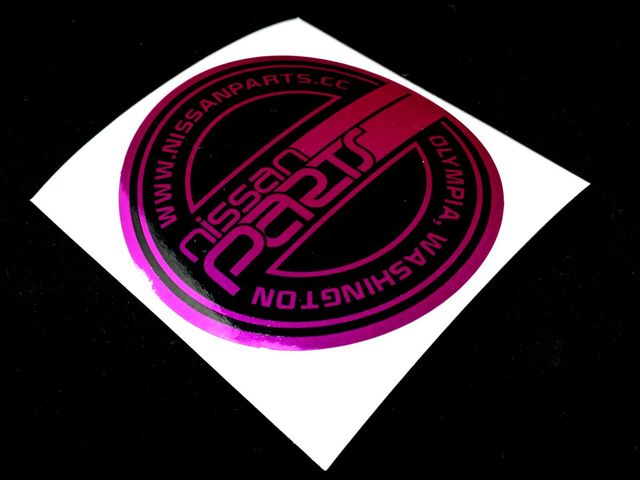 "NISSANPARTS.CC 4"" ROUND PURPLE CHROME DECAL - Custom (THATPURPLE)"