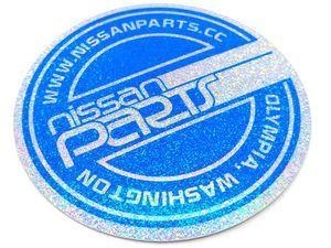 "NISSANPARTS.CC 4"" ROUND BLUE SPARKLE DECAL"