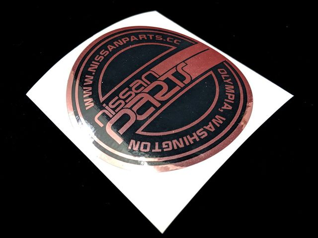 "NISSANPARTS.CC 4"" ROUND ROSE GOLD DECAL - Custom (ROSEGOLDJT)"