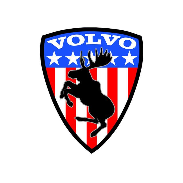 Prancing Moose Sticker USA Flag - Volvo (volvo-flag-sticker)