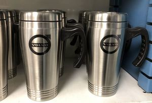 Volvo logo Mug Stainless Steel 16oz Silver with handle - Volvo (150-SILVER-HANDLE)
