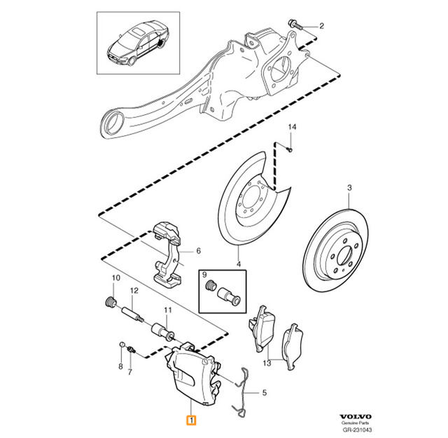 C30 Rear Brake Parts Misc - Volvo (c30-brakes-rear-misc)