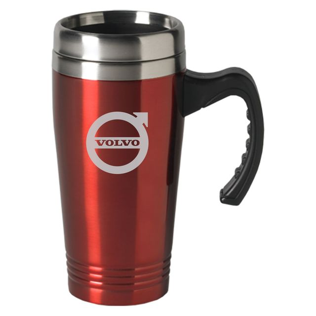 Volvo logo Mug Stainless Steel 16oz Red with handle - Volvo (150-red-handle)