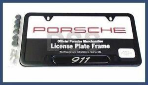 BLACK Stainless Steel License Plate Frame, Logo 911 - Porsche (PNA-702-100-00)
