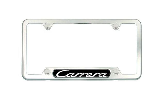 BRUSHED SILVER Stainless Steel License Plate Frame, Logo Carrera - Porsche (PNA-702-014-00)