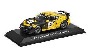 Model Car: 718 Cayman GT4 Clubsport, yellow/black, 1:43, DieCast - Porsche (WAP-020-415-0K)