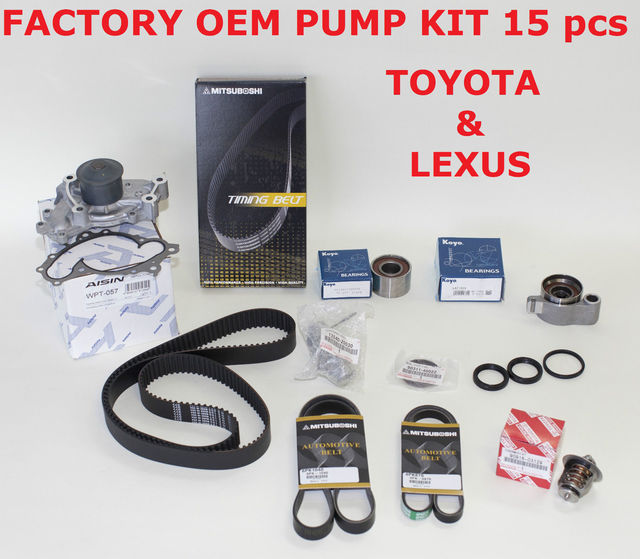 Genuine Factory Timing Belt Kit with OEM Aisin Water Pump for 1MZFE and 3MZFE Engine - Toyota (1610029085nais)