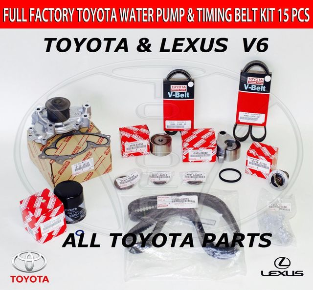 Toyota Highlander-Full Toyota 15 Piece Timing Belt and Water Pump Kit for 1MZFE and 3MZFE Engine - Toyota (1610029085nhi)