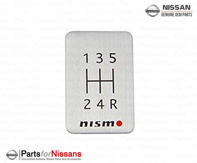 Nismo 5 Speed Aluminum Shift Pattern Badge Emblem Silver - Nissan (96935-RN000)