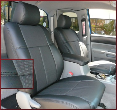 1 Pack Clazzio 255911blkk Black Leather Front Row Seat Cover for Toyota Highlander