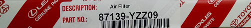 Filter Sub-Assembly Air - Toyota (87139-YZZ09)