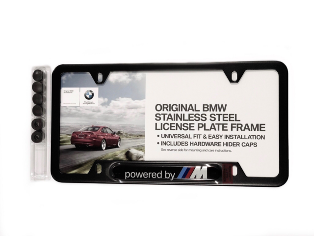 BMW POWERED BY M STAINLESS STEEL LICENSE PLATE FRAME - BMW (82-11-2-348-414)