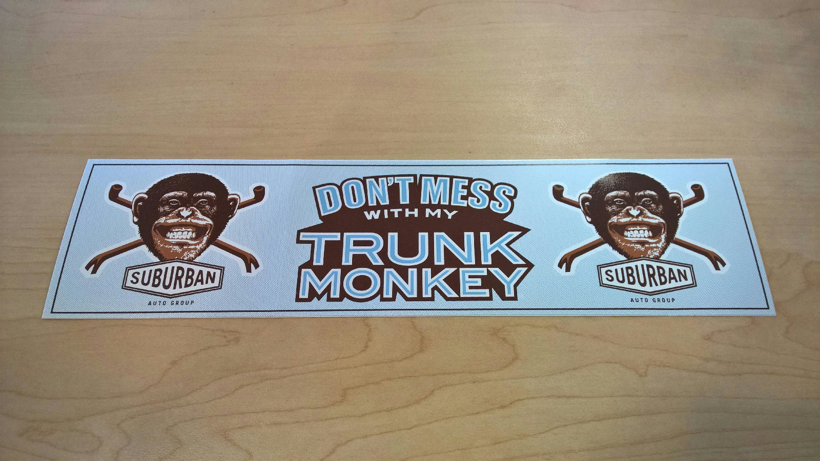 Blue Trunk Monkey Bumper Sticker - GM (Blue-Sticker)