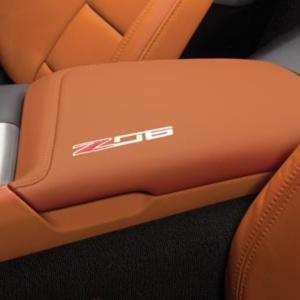 2015 - 2016 Corvette Stingray Z06 Center Console Lid, Z06 Logo, Kalahari (TRIM COMBINATIONS - 343, 344, 34I) - GM (23296461)