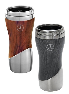 Double wall stainless steel and wood grain tumbler (Brown) - Mercedes-Benz (MHD-135-BR)
