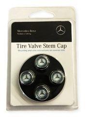 Valve Stem Caps - Blue Laurel Wreath - Mercedes-Benz (Q-6-40-8131)