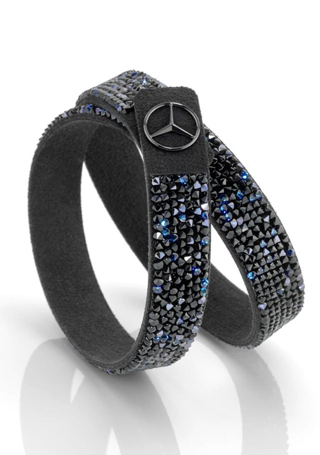 Women's Swarovski® microfiber bracelet - black edition - Mercedes-Benz (MBJ-679)