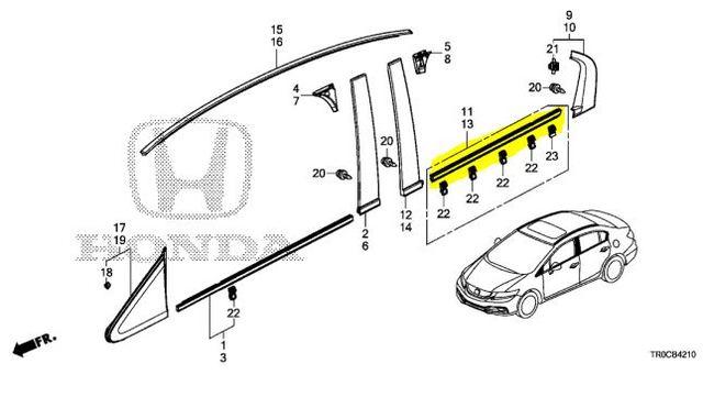 Genuine Honda Belt Molding 72910-TR0-A01