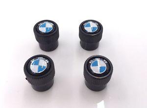 Valve Stem Caps - Roundel - Black 36122456426 - BMW (36-12-2-456-426)