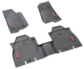 2018-2021 Jeep Wrangler JL 4-Door All Weather Rubber Floor Mats Red Lettering OEM - Mopar (82215203AE)